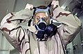 US Navy 030218-N-6141B-001 Damage Controlman 3rd Class Rosanna Colp from Lakesport, Calif., practices donning her Advanced Chemical Protective Gear (ACPG).jpg