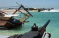 US Navy 040706-N-7586B-191 A Landing Craft Air Cushioned Vehicle LCAC transports elements of the 11th Marine Expeditionary Unit MEU into Kuwait, from USS Belleau Wood LHA 3.jpg