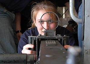 Sight (device) - A Cadet looks through a machine gun sight