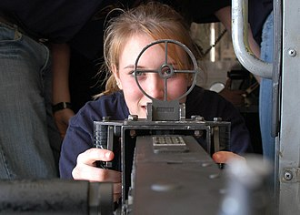 Sight (device) - A Cadet looks through a machine gun sight