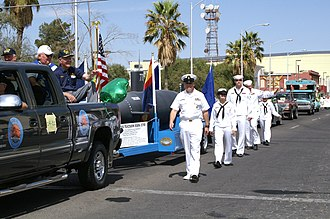 Sailors take part in the annual St. Patrick's Day parade. US Navy 070317-N-5324D-002 Sailors from the Los Angeles-class fast attack submarine USS Tucson (SSN 770) and Navy Operational Support Center Tucson take part in the annual St. Patrick's Day Parade.jpg