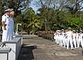 US Navy 070817-N-9486C-303 Capt. Douglas Wied, commander of Task Group 40.9, and Cmdr. Charles Rock, commanding officer of High Speed Vessel (HSV) 2 Swift, along with the leadership of Naval Base Del Caribe, render honors durin.jpg