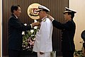US Navy 080818-N-8273J-162 Chief of Naval Operations (CNO) Adm. Gary Roughead, middle, is presented the Republic of Singapore's Meritorious Service Medal by Minister for Defense TEO Chee Hean, left, and Chief of Navy (CNV) Rear.jpg