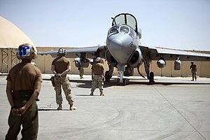 VAQ-142 - VAQ-142 EA-6B is prepared for launch at Al Asad Airbase in 2009