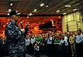 US Navy 100106-N-8273J-384 Chief of Naval Operations (CNO) Adm. Gary Roughead answers questions from Sailors aboard the aircraft carrier USS Nimitz (CVN 62).jpg