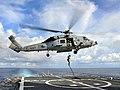 US Navy 100406-N-4774B-259 A member of Explosive Ordnance Disposal Mobile Unit (EODMU) 3 repels aboard USS Bunker Hill (CG 52).jpg