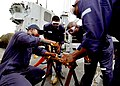 US Navy 100421-N-6138K-723 Sailors from the Sierra Leone and Togo navies perform a pipe patch during a crucible aboard USS Gunston Hall (LSD 44).jpg