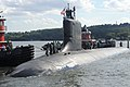 US Navy 100722-N-8467N-003 The Virginia-class attack submarine Pre-Commissioning Unit (PCU) Missouri (SSN 780) pulls into Naval Submarine Base New London. Missouri will be commissioned during a ceremony July 31.jpg