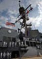 US Navy 110805-N-YF783-090 Sailors man the rails aboard the guided-missile destroyer USS Bainbridge (DDG 96) as it returns to Naval Station Norfolk.jpg