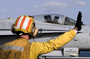 US Navy 120216-N-JN664-090 A Sailor directs the pilot of an F-A-18C Hornet assigned to the Blue Blasters of Strike Fighter Squadron (VFA) 34 on the.jpg