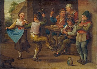 "Peasant - ""Feiernde Bauern"" (""Celebrating Peasants""), artist unknown, 18th or 19th century"