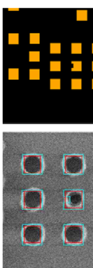 Optical proximity correction - OPC applied to contact pattern. Due to the edge modification in the mask layout (top), the center contact in the right column is undersized in the wafer printed image (bottom).