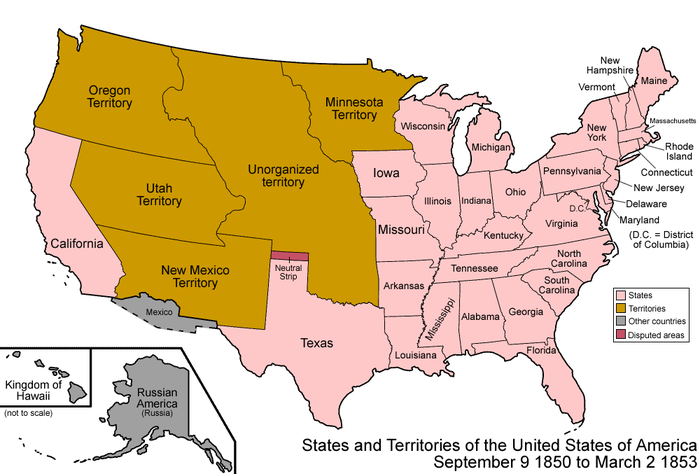 United States states and territories after the Compromise of 1850 United States 1850-1853-03.png