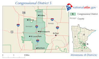 United States House of Representatives elections in Minnesota, 2008 - Image: United States House of Representatives, Minnesota District 5 map