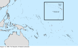 Map of the change to the United States in the Pacific Ocean on August 12, 1898