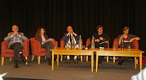 Nottingham South (UK Parliament constituency) - The prospective candidates for the 2010 election at the University of Nottingham Students' Union's Big Debate at the East Midlands Conference Centre. From left to right: Tony Sutton (Liberal Democrats), Rowena Holland (Conservative Party), Ken Browne (UK Independence Party), Matthew Butcher (Green Party), Lilian Greenwood (Labour Party)