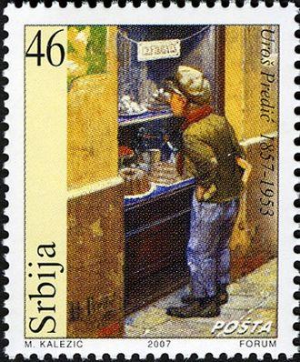 Uroš Predić - A 2007 postage stamp celebrating the 150th anniversary of painter's birth