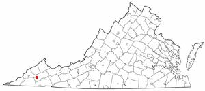 Castlewood, Virginia - Image: VA Map doton Castlewood