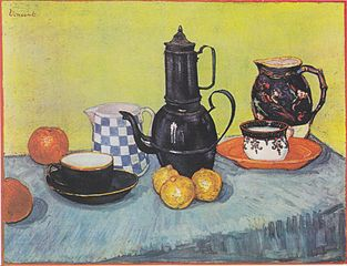 Still life with coffee pot, dishes and fruit