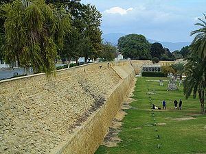 Venetian walls and green parks Nicosia Republic of Cyprus Kypros