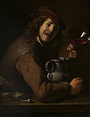 Man drinking wine.