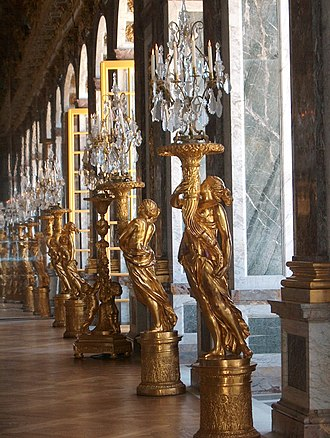 Hall of Mirrors - Gilded sculptured guéridons were commissioned to replace part of the silver furniture melted in 1689 to finance the War of the League of Augsburg.