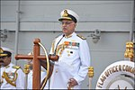 Vice Admiral Girish Luthra, Flag Officer Commanding-in-Chief, Western Naval Command, addressing at ceremonial divisions onboard INS Vikramaditya.jpg