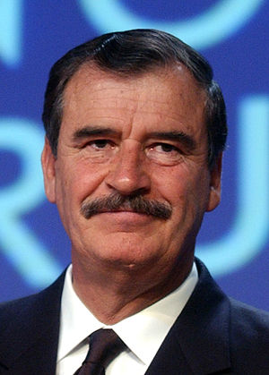 English: Vicente Fox, President of Mexico spea...