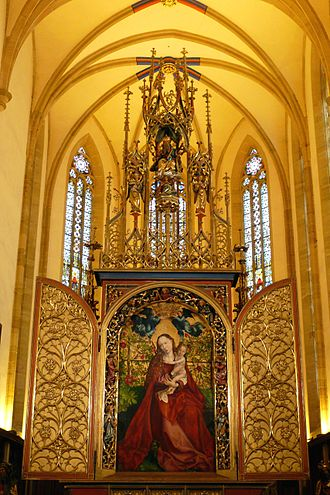 "Colmar - Martin Schongauer's ""Virgin in a rose-garden"" inside the Église des Dominicains"