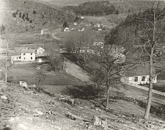 East Litchfield Village, Connecticut - This photograph from the late 1800s shows the village of East Litchfield with Harwinton in the background.