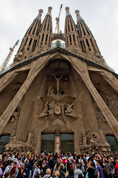 File:View of Passion Façade of Basilica and Expiatory Church of the Holy Family (Basílica i Temple Expiatori de la Sagrada Família) ( UNESCO World Heritage Site). Barcelona, Catalonia, Spain.jpg