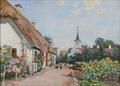 Viggo Langer - Landsbyparti med bindingsværkshus og kirke på Mols - 1933.png