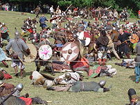 A modern reenactment of a Viking battle