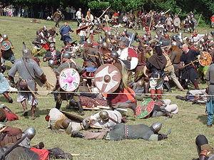 A modern reenactment of a Viking battle