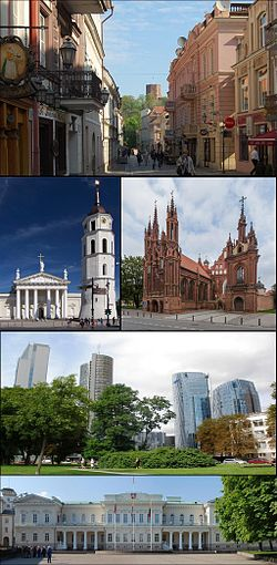 Top: Vilnius Old Town  Middle left: Vilnius Cathedral  Middle right: St. Anne's Church  The 3rd row: Šnipiškės  The 4th row: Presidential Palace.