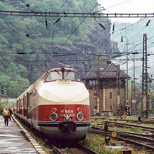 Vindobona (train) - DR VT 18.16.10 at Děčín border crossing