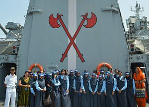 INS Tabar - Visit of Indian school children in the UAE on-board INS Tabar