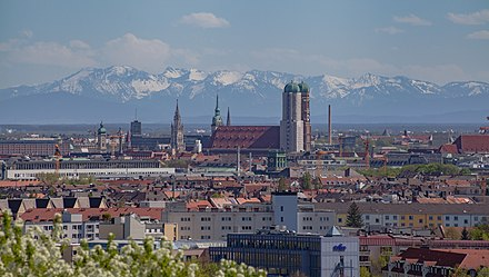 Alps behind the skyline of Munich