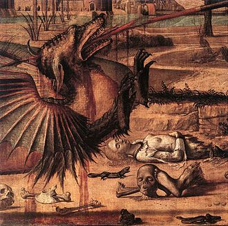 St. George and the Dragon (Carpaccio) - Detail of the dragon and of the macabre remains on the ground.