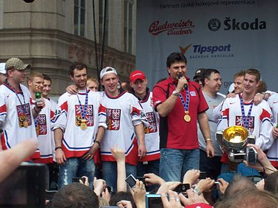 The Czech ice hockey world champions at Old Town Square (2010) Vladimir Ruzicka and Czech ice hockey team 2010.jpg