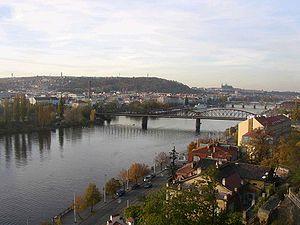 Smíchov - Smíchov, on the left bank of the river Vltava as seen from Vyšehrad