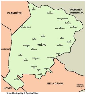 vrsac mapa srbije Opština Vršac   Wikipedia vrsac mapa srbije