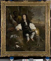 Portret van een jager met neger en honden