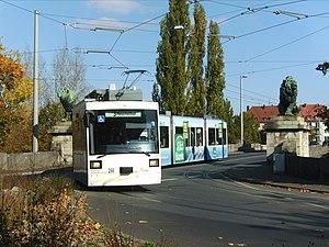 Trams in Würzburg - A GT-N tram crossing the Löwenbrücke, Würzburg, 2007