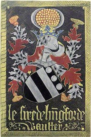 Walter Hungerford, 1st Baron Hungerford - Le Sire de H(u)ng(er)forde, Waulter. Garter stall plate, Windsor Castle, of Walter Hungerford, 1st Baron Hungerford, KG. The helm is covered by mantling barry of ermine and gules, the arms of Hussey. The crest is: Within a crest coronet azure a Peverell garb or between two Hungerford sickles argent