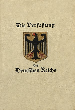 Weimar National Assembly - Cover of the Weimar Constitution