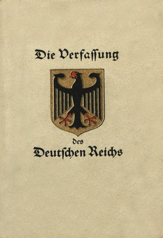 Coat of arms of Germany - Title page of the Constitution of the Weimar Republic, with Schwab's design of the coat of arms