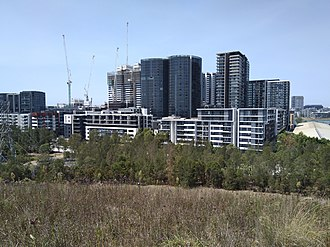 Wentworth Point, New South Wales - View of recently completed and under construction apartment buildings in February 2018