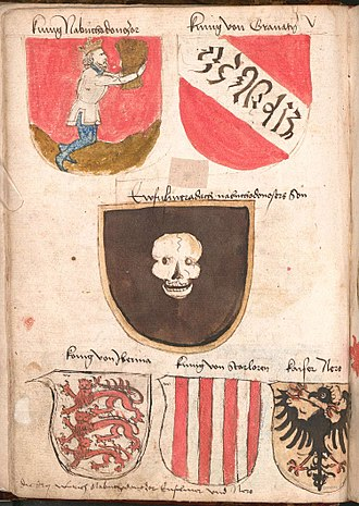 Nasrid dynasty - Contemporary coat of arms (upper right) of the Nasrid dynasty of Grenada with garbled Arabic inscription (Wernigerode Armorial).