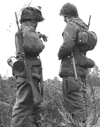 FN FAL - Two German soldiers on a joint exercise in 1960. West Germany used the FN FAL designated as G1.